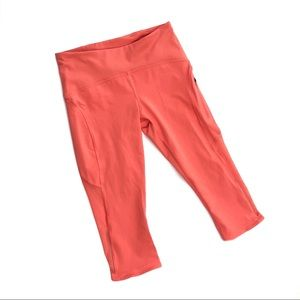 Lululemon crop leggings orange capri 6 mesh panel
